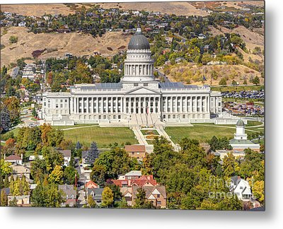 Aerial View Of Utah State Capitol Building Metal Print by Gary Whitton