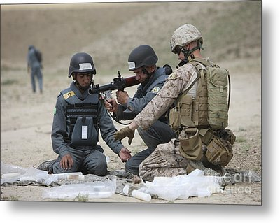 Afghan Police Students Assemble A Rpg-7 Metal Print by Terry Moore