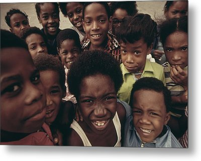 African American Children On The Street Metal Print by Everett
