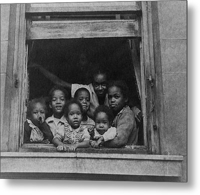 African American Woman And Six Children Metal Print by Everett