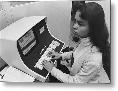 African-american Woman Computer Metal Print by Everett