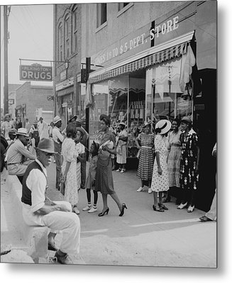 African Americans Shopping And Visiting Metal Print by Everett