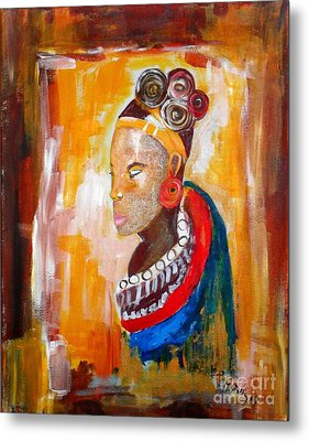 African Goddess Metal Print by EvaMaria Stollmayer
