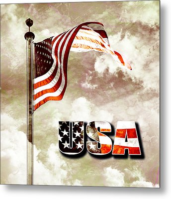 Aged Usa Flag On Pole Metal Print by Phill Petrovic