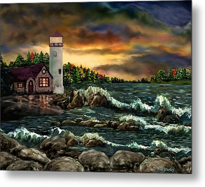 Ah-001-015 David's Point Lighthouse  - Ave Hurley Metal Print by Ave Hurley