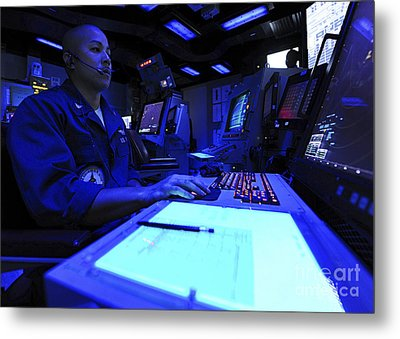 Air Traffic Controller Stands Watch Metal Print by Stocktrek Images