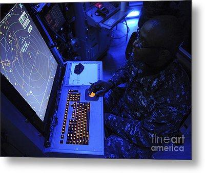 Air-traffic Controller Tracks Incoming Metal Print by Stocktrek Images