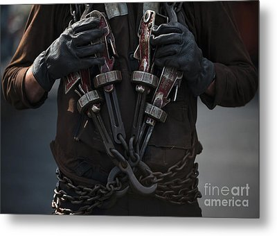 Airman Carries Aircraft Tie-down Chains Metal Print by Stocktrek Images