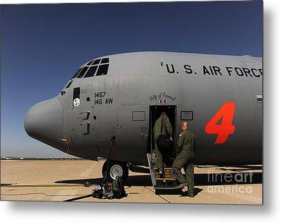 Airmen Board A C-130j Hercules At Dyess Metal Print by Stocktrek Images