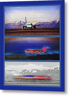 Airport - Airline Triptych Metal Print by Steve Ohlsen