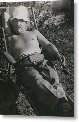 Albert Einstein 1879-1955, Sunbathing Metal Print by Everett