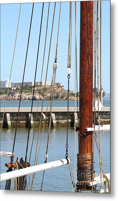 Alcatraz Island Through The Hyde Street Pier In San Francisco California . 7d14148 Metal Print by Wingsdomain Art and Photography
