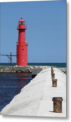 Algoma Lighthouse Pier Metal Print by Mark J Seefeldt
