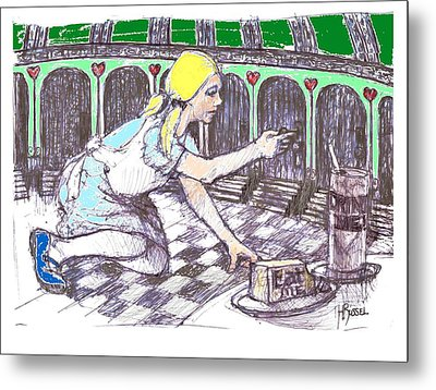 Alice Finds The Key Metal Print by Herb Russel
