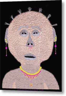 Alien  Lifeform From  Stucco  World  -  One Metal Print by Carl Deaville
