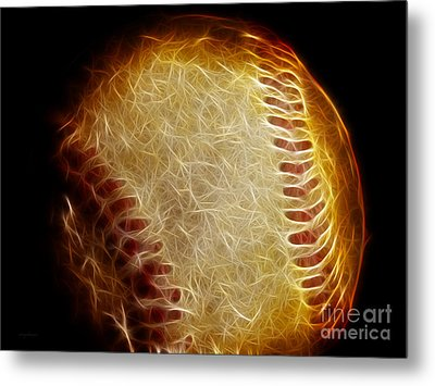 All American Pastime - The Fastball Metal Print by Wingsdomain Art and Photography
