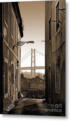 Alley And Bridge Metal Print by Carlos Caetano