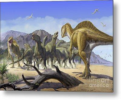Altispinax Dunkeri Dinosaurs Attack Metal Print by Sergey Krasovskiy