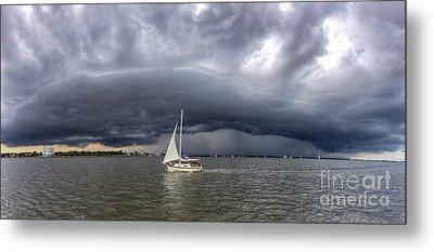 Amazing Storm Clouds And Sailboat Charleston Sc Metal Print by Dustin K Ryan