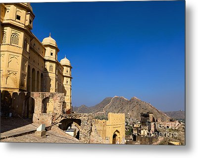 Amber Fort And Blue Sky Metal Print by Inti St. Clair