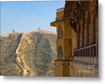 Amber Fort And Wall Metal Print by Inti St. Clair