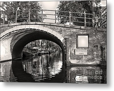 Amsterdam Canal Bridge In Sepia Metal Print by Gregory Dyer