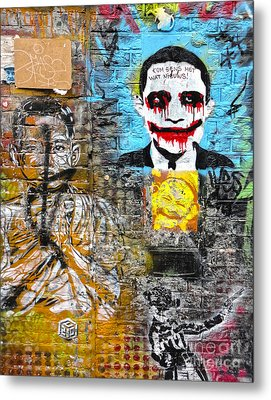 Amsterdam Obama Graffiti Metal Print by Gregory Dyer