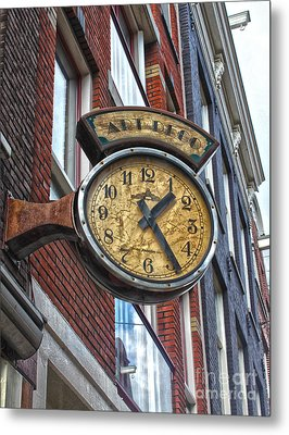 Amsterdam Vintage Deco Clock Sign Metal Print by Gregory Dyer