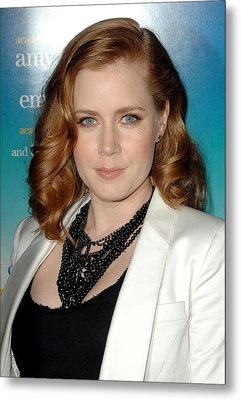 Amy Adams Wearing A Tom Binns Necklace Metal Print by Everett