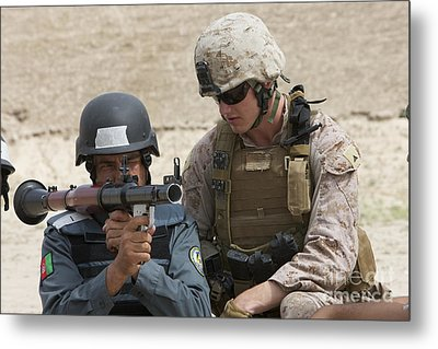 An Afghan Police Student Aiming A Rpg-7 Metal Print by Terry Moore