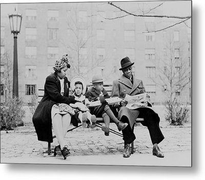 An African American Family On A Park Metal Print by Everett
