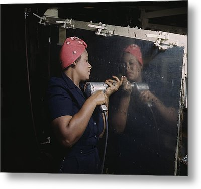 An African American Rosy The Riveter Metal Print by Everett