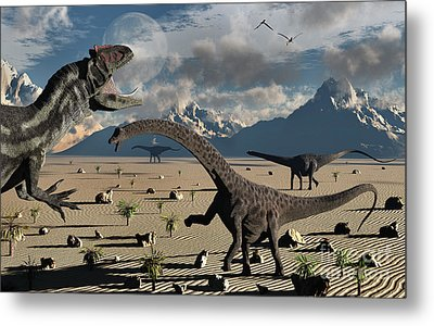 An Allosaurus Confronts A Small Group Metal Print by Mark Stevenson