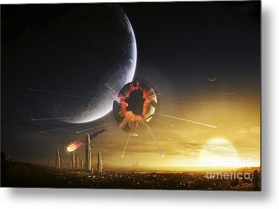 An Apocalyptic Scene Showing A Gravity Metal Print by Tobias Roetsch
