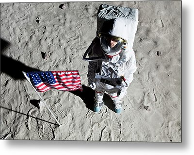An Astronaut On The Surface Of The Moon Next To An American Flag Metal Print by Caspar Benson