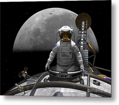 An Astronaut Takes A Last Look At Earth Metal Print by Walter Myers
