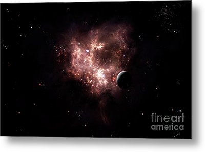 An Emission Nebula Is Viewed From Neaby Metal Print by Brian Christensen