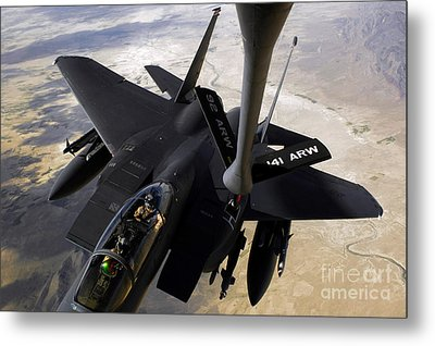 An F-15e Strike Eagle Aircraft Receives Metal Print by Stocktrek Images