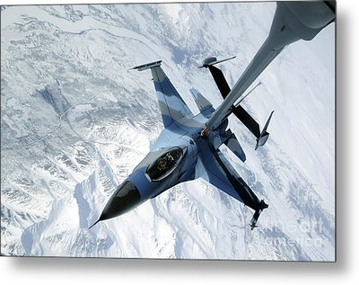 An F-16 Aggressor Sits In Contact Metal Print by Stocktrek Images