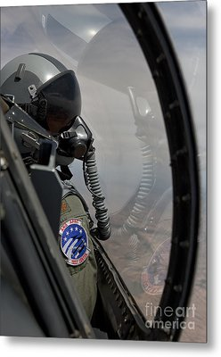 An F-16 Pilot Checks The Position Metal Print by HIGH-G Productions