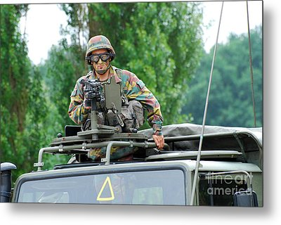 An Infantry Soldier Of The Belgian Army Metal Print by Luc De Jaeger