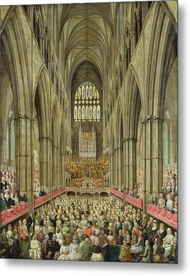 An Interior View Of Westminster Abbey On The Commemoration Of Handel's Centenary Metal Print by Edward Edwards