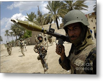An Iraqi Army Soldier Provides Security Metal Print by Stocktrek Images
