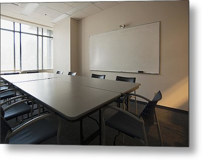 An Office. Whiteboard On The Wall Metal Print by Marlene Ford