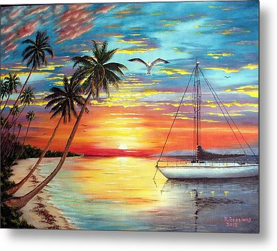Anchored At Sunset Metal Print by Riley Geddings
