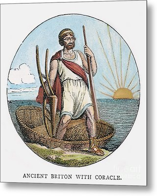 Ancient Briton And Coracle Metal Print by Granger