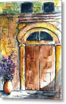 Ancient Door Of Greece Metal Print by Therese Alcorn