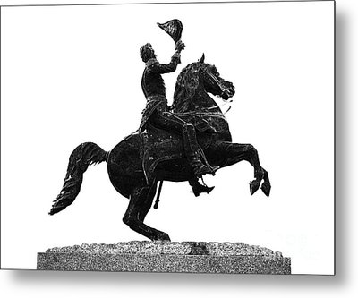Andrew Jackson Statue Jackson Square French Quarter New Orleans Glowing Edges Digital Art Metal Print by Shawn O'Brien
