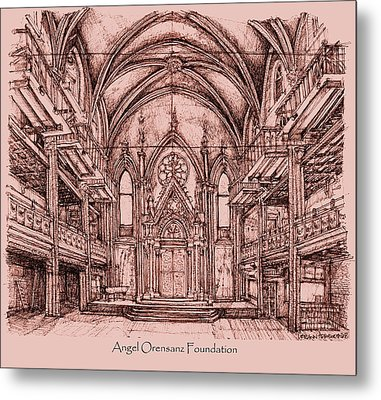 Angel Orensanz Centre In Pink  Metal Print by Building  Art