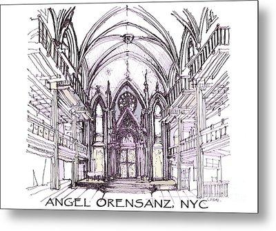 Angel Orensanz Ink  Metal Print by Building  Art